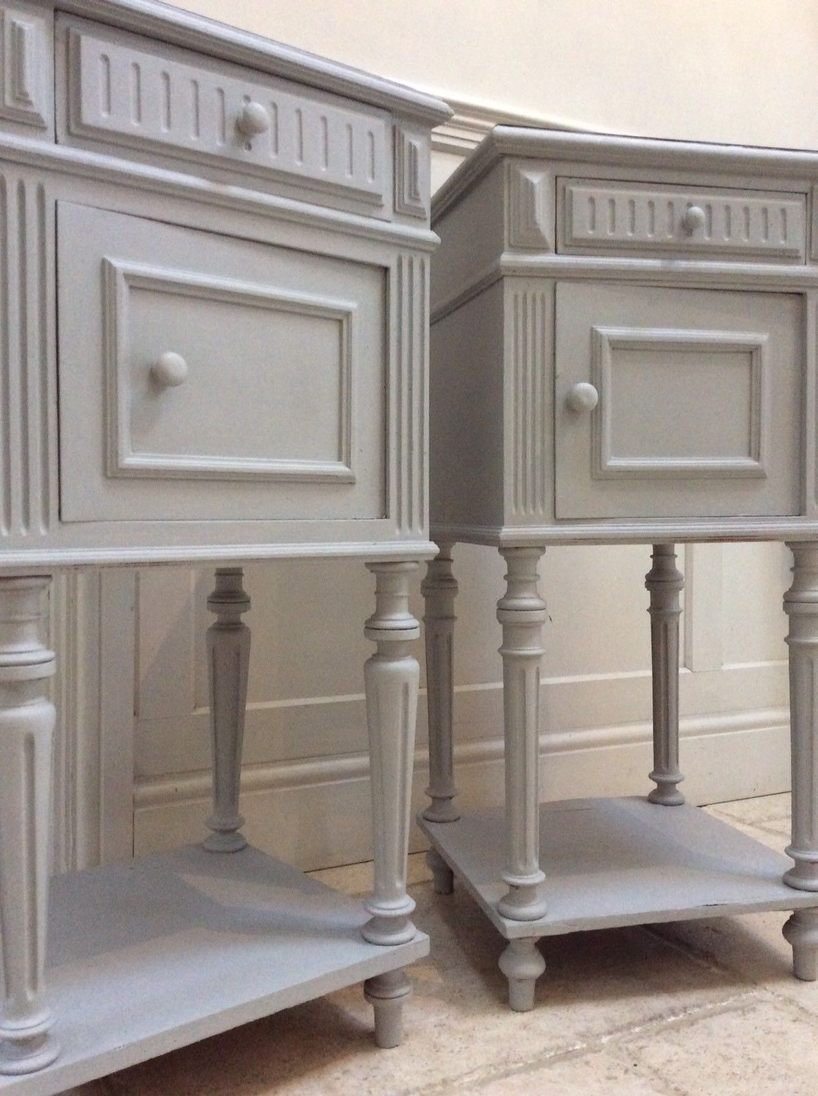 Almost Pair of Antique French Painted Grey Bedside Table Cabinets Pot  Cupboards - Pair Of Antique French Painted Grey Bedside Table Cabinets Pot Cupboards